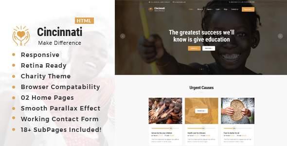 Cincinnati  Charity Non-Profit HTML5 Template TFx