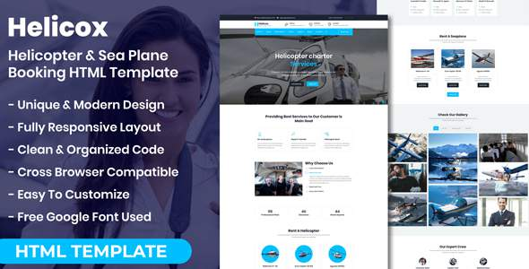Helicox – Helicopter amp Sea Plane Booking HTML Template TFx