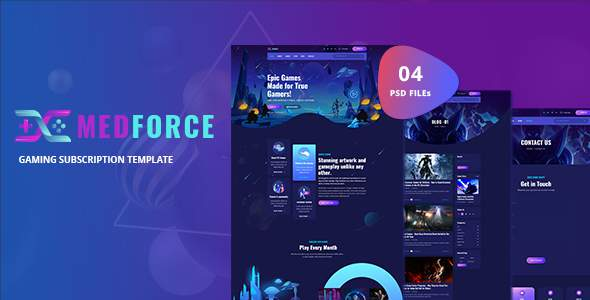 Medforce - Gaming Subscription Website PSD Template TFx