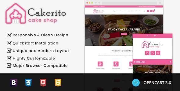 Cakerito - Cake Shop Opencart 3x Responsive Theme TFx