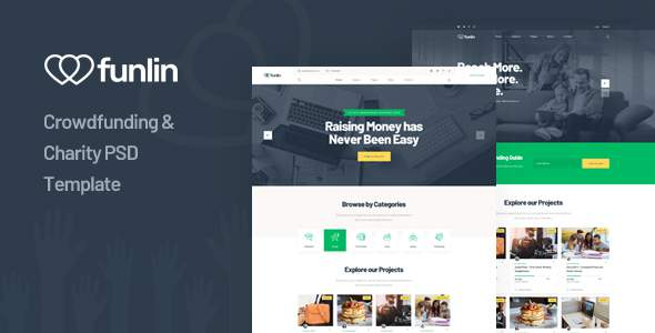 Funlin - Crowdfunding amp Charity PSD Template TFx