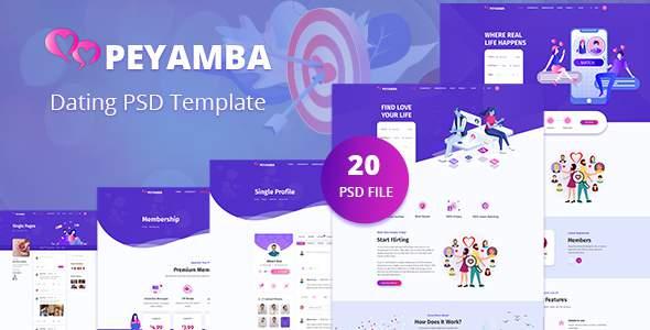 Peyamba - Dating Website PSD Template TFx