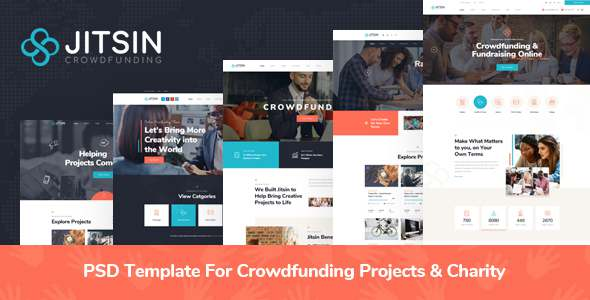Jitsin - PSD Template For Crowdfunding Projects amp Charity TFx