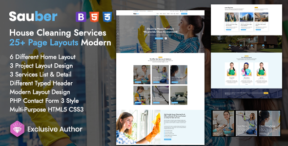 Sauber – House Cleaning Services Template TFx