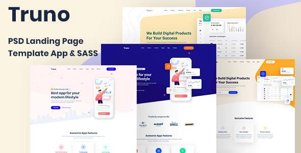 Truno - PSD Landing Page Template App amp Sass TFx