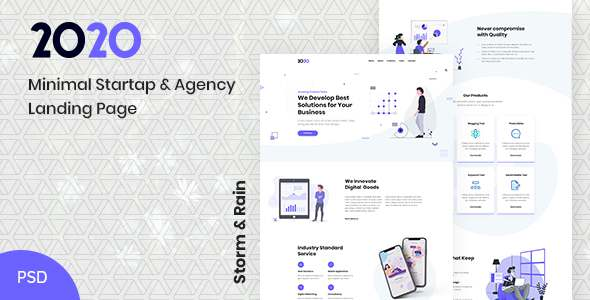 2020  Minimal Startup amp Agency PSD Landing Page TFx