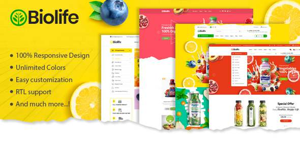 Biolife – Organic Food Magento 2 Theme  RTL Supported TFx