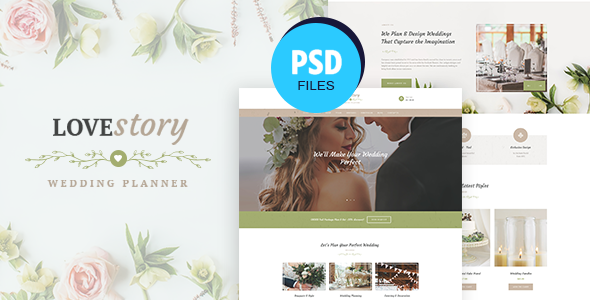 Love Story  Wedding and Event Planner PSD Template TFx