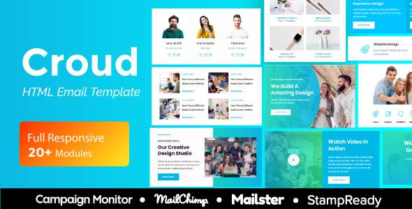 Croud – Multipurpose Responsive Email Template 20 Modules – Mailster amp Mailchimp TFx