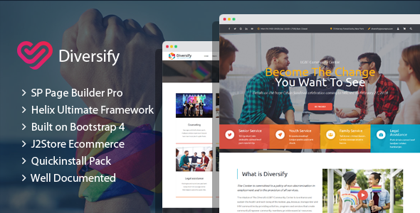Diversify - LGBT Community Joomla Template With Page Builder TFx