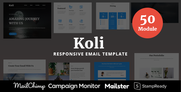Koli – 50 Modules Responsive Email Template TFx