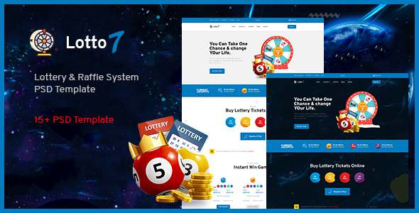 Lotto7 - Lottery amp Raffle System PSD Template TFx