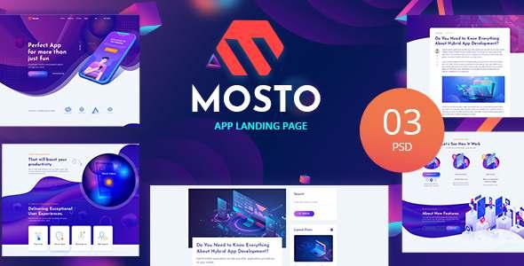 Mosto - App Landing PSD Template TFx PSDTemplates