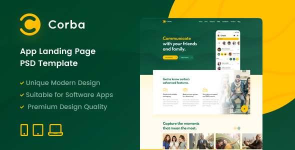 Corba  App Landing Page PSD Template TFx
