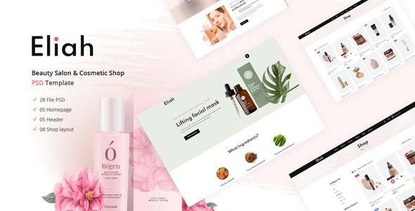 Eliah  Beauty Salon amp Cosmetic Shop PSD Template TFx