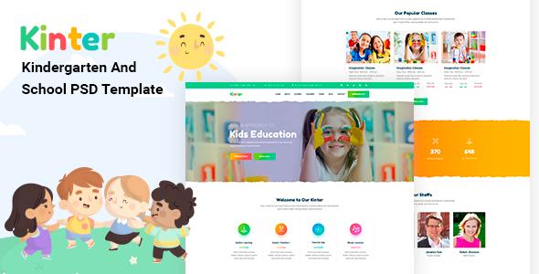 Kinter  Kids Kindergarten amp School PSD Template TFx