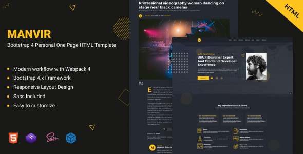 Manvir - Bootstrap 4 Personal One Page HTML Template TFx