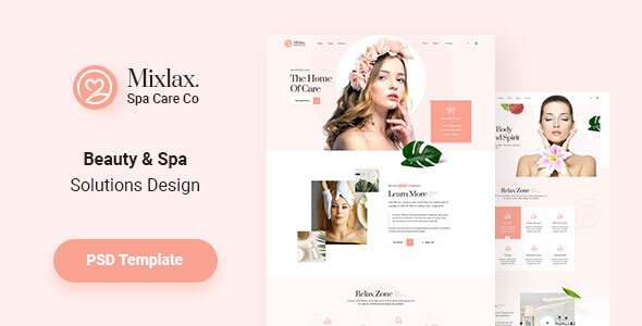 Mixlax - Spa Beauty Salon Wellness PSD Template TFx