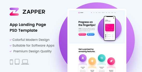 Zapper  App Landing Page PSD Template TFx