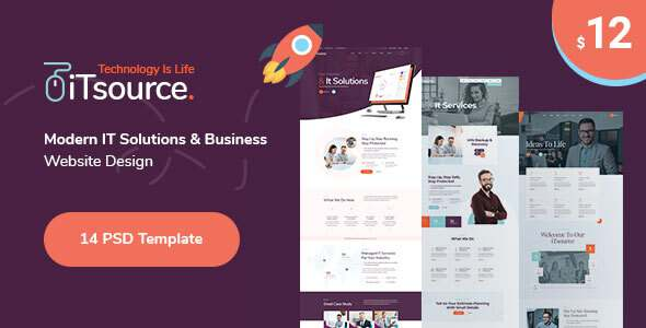iTsource - IT Solutions amp Services Website Design PSD Template TFx