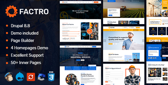 Factro - Industrial amp Factory Business Drupal 88 Theme TFx