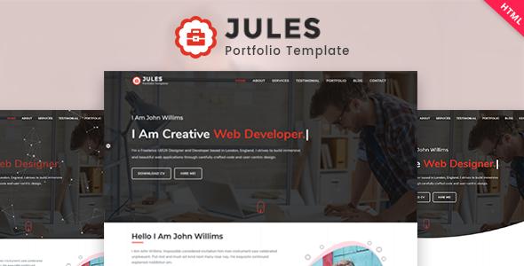 Jules - Minimal Personal Portfolio HTML Template TFx