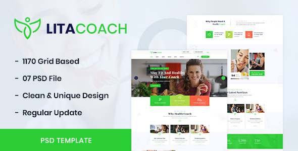 Litacoach - Health Coach amp Personal Fitness PSD Template TFx