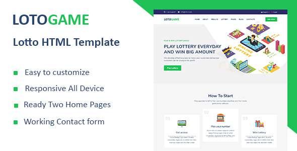 LotoGame - Digital Lotto HTML Template TFx