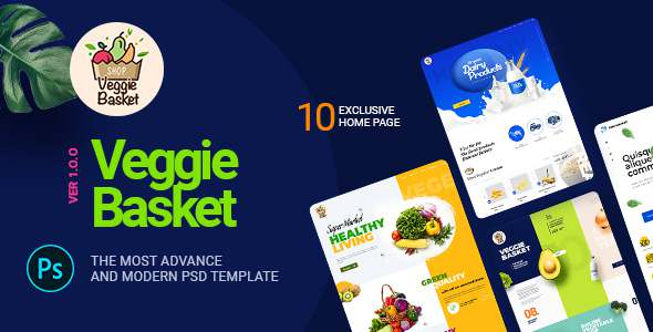 VeggieBasket  A Online Vegetable Fish Meat Dairy Product and Winemakers PSD Template TFx