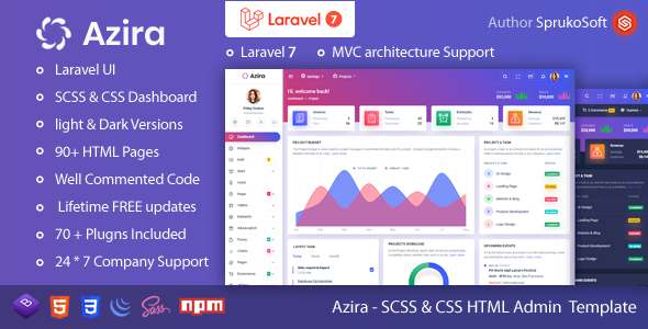 Azira  PHP Laravel Admin Template TFx SiteTemplates