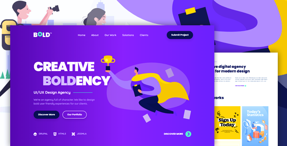 BOLDENCY - HTML Landing Page Template for Design Agency and Portfolio Showcase TFx