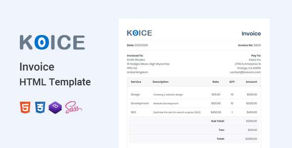 Koice - Invoice HTML Template TFx SiteTemplates
