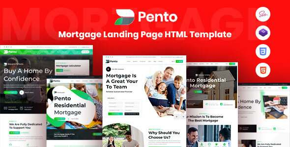 Pento – Real Estate Mortgage Landing Page Template TFx