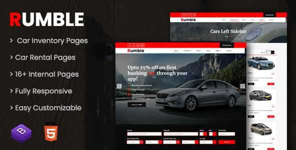 Rumble – Car Rental Booking HTML Template TFx