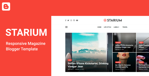 Starium - Responsive News amp Magazine Blogger Template TFx
