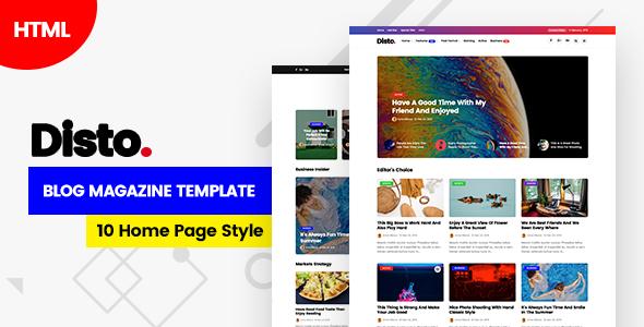 Disto - HTML Blog Magazine TFx SiteTemplates