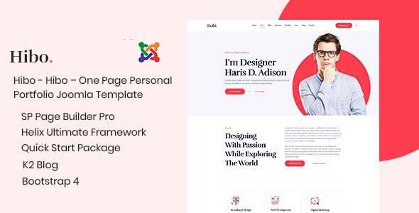 Hibo  One Page Personal Portfolio Joomla Template With Page Builder TFx