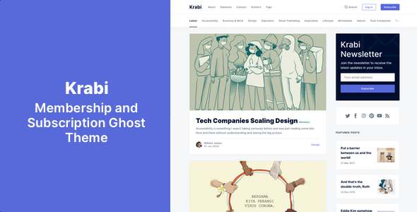 Krabi - Membership and Subscription Ghost Theme TFx