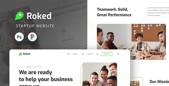 Roked Startup Website UI Design Template Figma amp PSD TFx