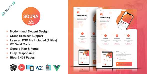 Soura – Vue App Template TFx SiteTemplates