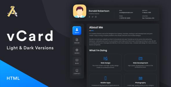vCard3  Resume  CV  vCard  Portfolio TFx
