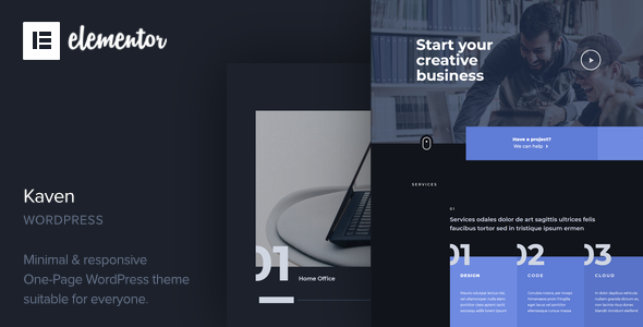 Kaven – Business One Page WordPress Theme TFx