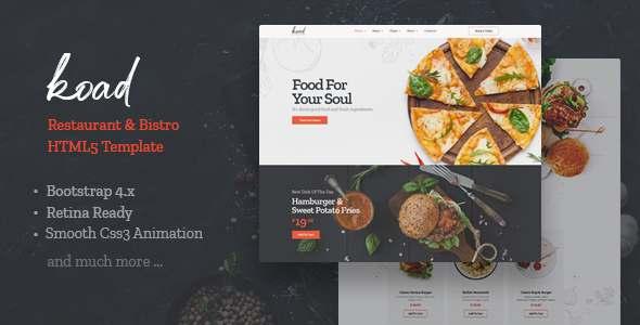 Koad – Restaurant amp Bistro HTML Template TFx