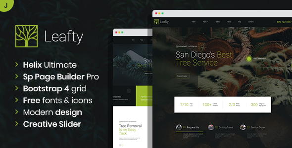 Leafty – Green Joomla Template for Tree Removal and Lumberjack Company TFx
