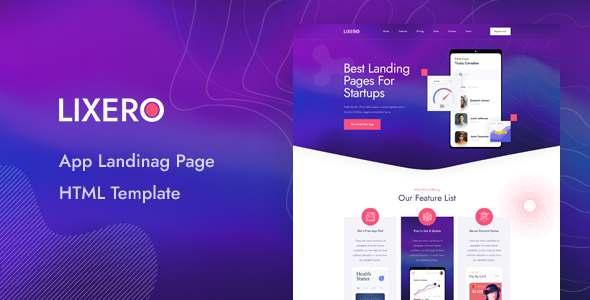 Lixero – App Landing Page HTML Template TFx