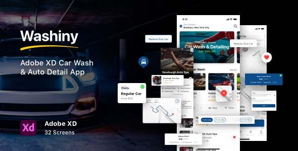 Washiny - Adobe XD Car Wash amp Auto Detail App TFx