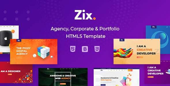 Zix - Agency Portfolio Multipurpose HTML5 Template TFx