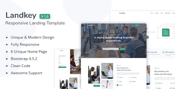 Landkey – A Responsive Creative Landing Page Template TFx