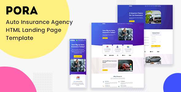 Pora - Auto Insurance Agency HTML Landing Page Template TFx
