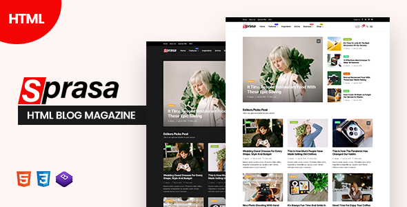 Sprasa - HTML Blog Magazine TFx SiteTemplates